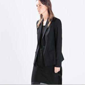 Zara Woman Buttoned Long Blazer